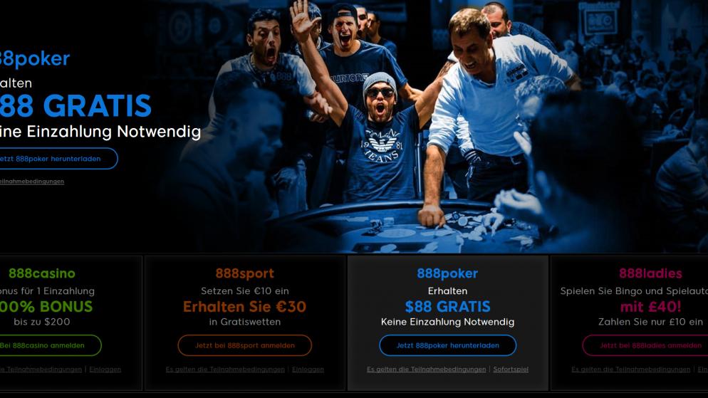 €88 gratis (ohne Einzahlung) bei 888  Poker